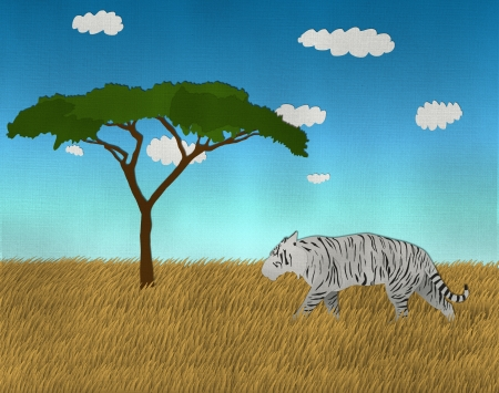 Single White Bengal Tiger at the safari from recycled paper Stock Photo - 15115238