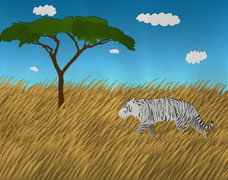 bengal: Single White Bengal Tiger at the safari from recycled paper Stock Photo