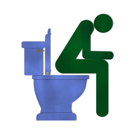 empty the bowel: man on toilet symbol from recycle paper Stock Photo