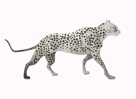 snow leopard: Snow Leopard form recycled paper isolated on white