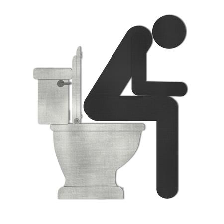 wc: Mann auf WC-Symbol aus Recycling-Papier