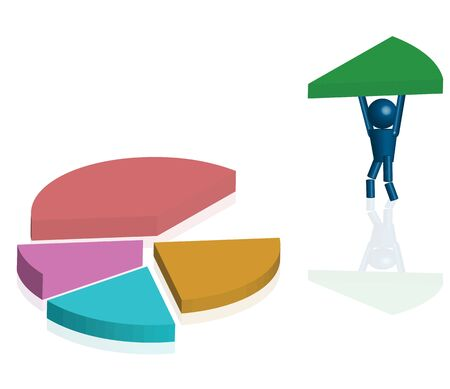 Human cartoon carry piece of Pie chart in 3d Stock Photo - 15373184