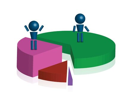 Pie chart with human cartoon in 3d Stock Photo - 15373158