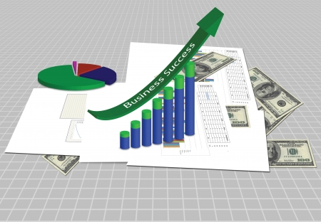 Increasing graph with business plan photo