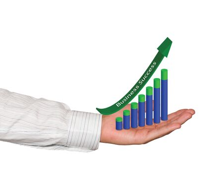 Rising Business graph in hand isolated on white Stock Photo - 15373193
