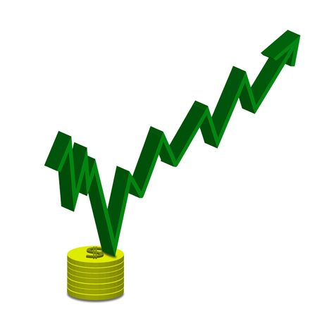 upward graph: Business increasing graph on gold coin