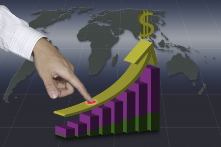 Business man touching on 3D increasing graph photo