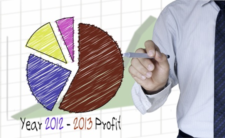 Businessman draw colorful graph for year 2012-2013 photo