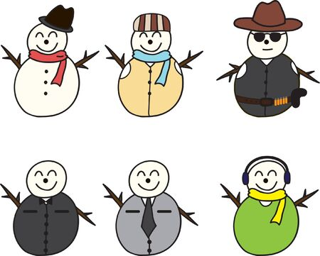 cartoon of set of Snowman Stock Vector - 15676595