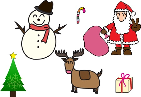 Santa Claus Y Muñeco De Nieve Ilustración Celebrando La Navidad Con ...