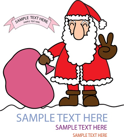shown: Santa Claus shown victory sign with space for text Illustration