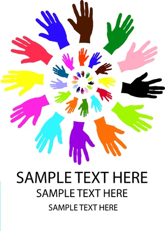 volunteers: Round pattern of muiti layer colorful hand