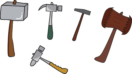set of Hammer isolated on white Stock Vector - 15676589