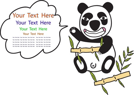 cartoon of funny Panda and space for text isolated on white Stock Vector - 15676697