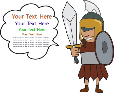 cartoon of Roman warrior with space for text isolated on white Vector
