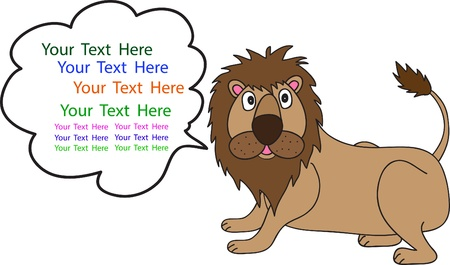 angry lion:  cartoon of Lion and space for text