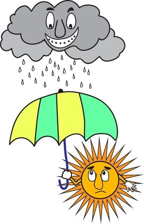 rainy sky: Sol con paraguas bajo la nube de lluvia