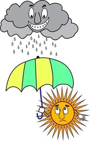 rain cartoon: Sun with umbrella under rainy cloud