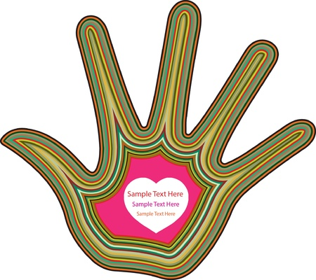 Multi layer colorful hand with Heart and space for text Stock Vector - 15676587