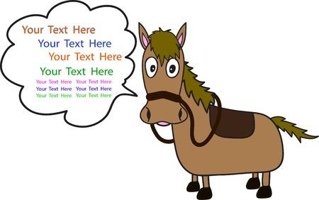 テキスト用のスペースを持つ馬の漫画  イラスト・ベクター素材