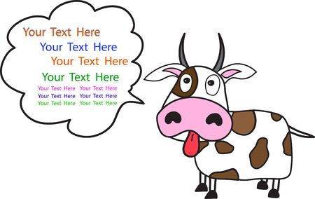 interesting music:  cartoon of Cow with space for text