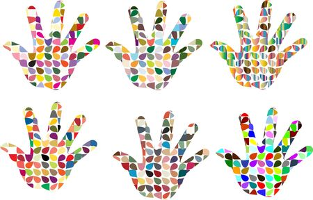 Set of multi color mosaic hand isolated on white Vector