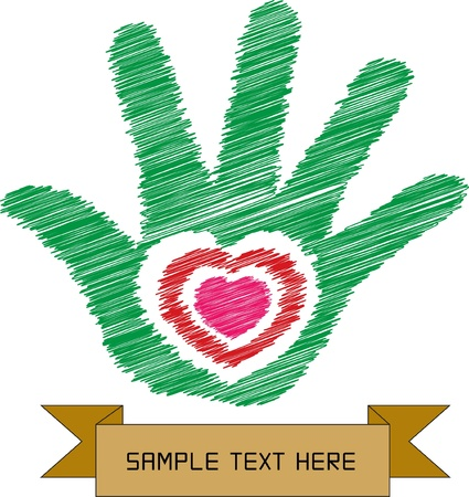 charitable: Colorful sketch of heart in hand with banner