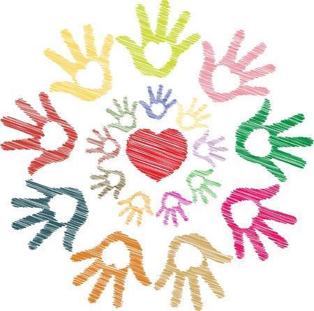 amistad: Bosquejo colorido del coraz�n en la mano en el patr�n de ronda
