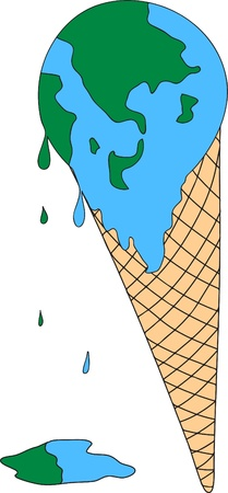 Global warming concept : Melt earth ice cream Vector