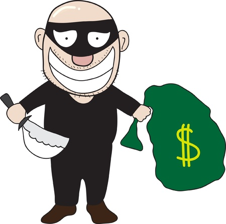 Burglar with knife and money bag isolated on white
