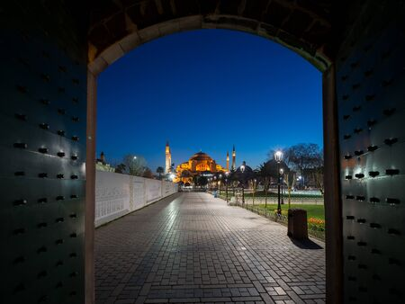 Hagia Sophia Cathedral before sunrise, Istanbul, Turkey photo