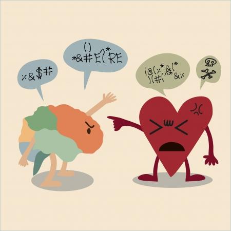 pas d accord: dessin anim� de conflit entre le cerveau et le coeur