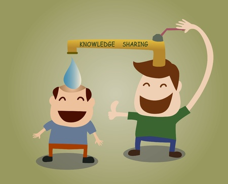 open mind: cartoon of Knowledge transfer concept in retro color