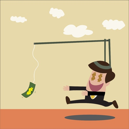 avarice: cartoon of Businessman chasing money trap in retro color