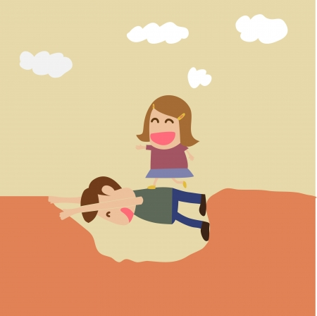 education help: cartoon of Kindness concept : boy help girl crossing hole