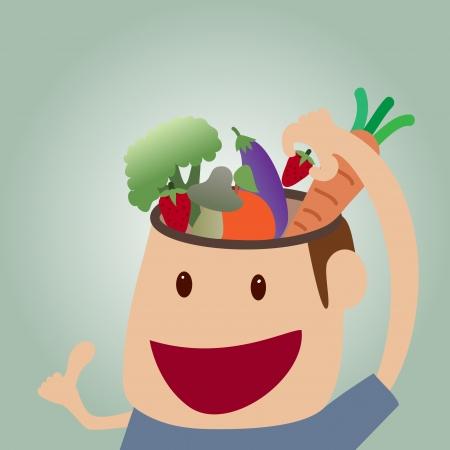 educazione ambientale: cartone animato del concetto di cibo del cervello: Ragazzo che alimenta vegatable al cervello