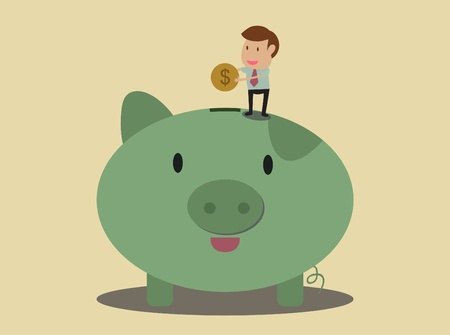 Businessman put coin to piggy bank Stock Vector - 19628677