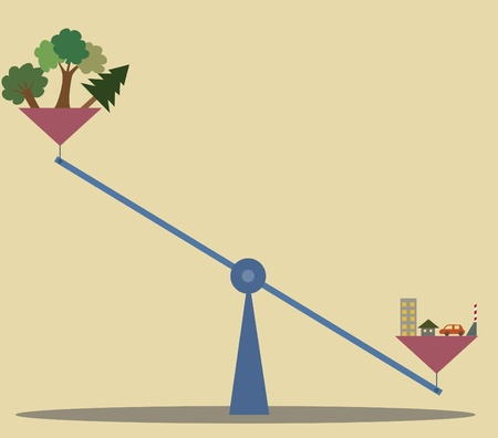 resident: cartoon of Unbalance scale between Nature and human construction