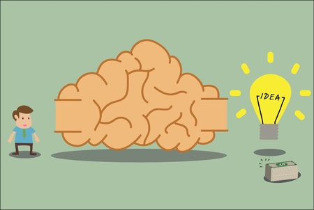 cartoon of Brain labyrinth to idea and wealth Stock Vector - 19628698