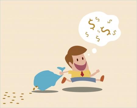 cartoon of Man loss money because of careless Stock Vector - 19628714