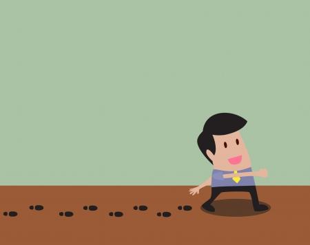 leaving: cartoon of Man walking and leaving his footprint