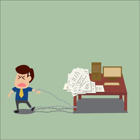 Vector cartoon of Businessman is trapped with his work Vector