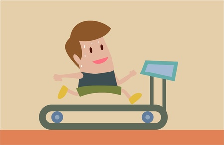 cartoon of man jogging on treadmill Vector