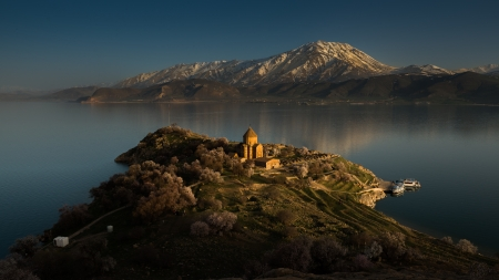 Last light at The Armenian Church, Van,  Turkey
