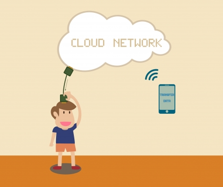 receiving: Cartoon of Man receiving data with smart phone via Cloud network Illustration