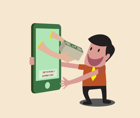 Vector Cartoon of Business man receiving money over mobile internet transaction