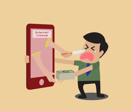 Vector cartoon of Internet criminal Vector