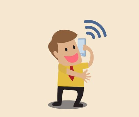 Vector cartoon of Businessman use smart phone with wifi symbol Stock Vector - 19807333