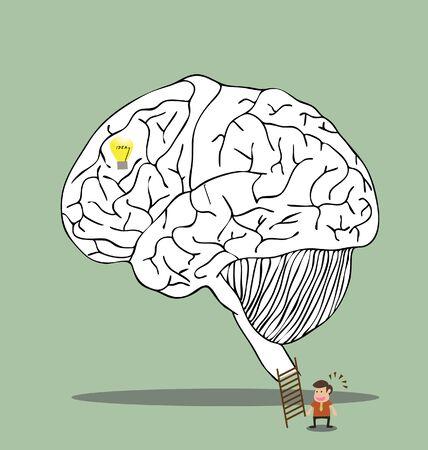 생각에 잠겨있는: 비밀 생각에 뇌 미로의 벡터 만화 일러스트
