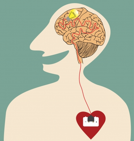 heart intelligence: Vector cartoon of Heart, Brain and Idea connected with power plug